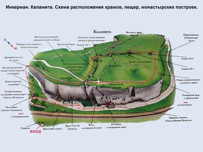 Инкерман. Карта-схема монастырского комплекса